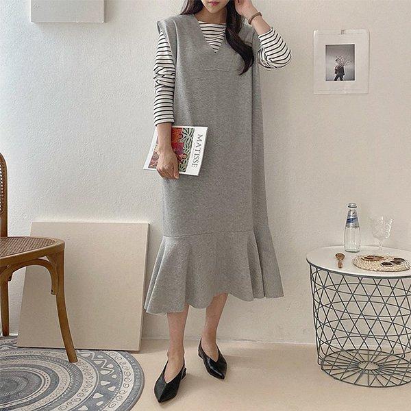 008 프릴인어핏조끼원피스 DNOA592 도매 배송대행 미시옷 임부복