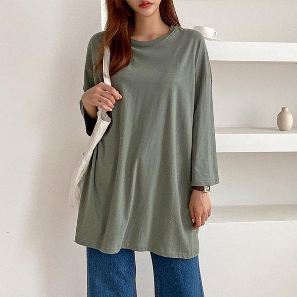 008 오버핏라운드긴팔티 DNOA598 도매 배송대행 미시옷 임부복