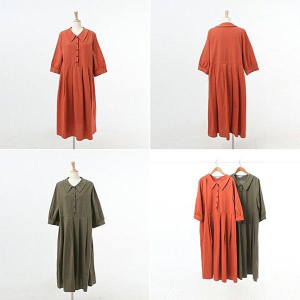 008 둥근카라퍼프면원피스 DWBA602 도매 배송대행 미시옷 임부복