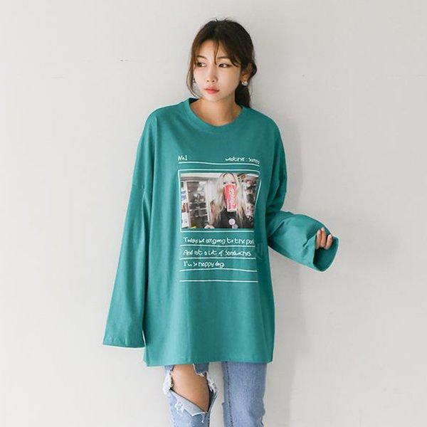008 오버롱소녀나염긴팔티 DSUA611 도매 배송대행 미시옷 임부복