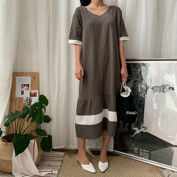 008 소매배색브이면원피스 DBSA613 도매 배송대행 미시옷 임부복