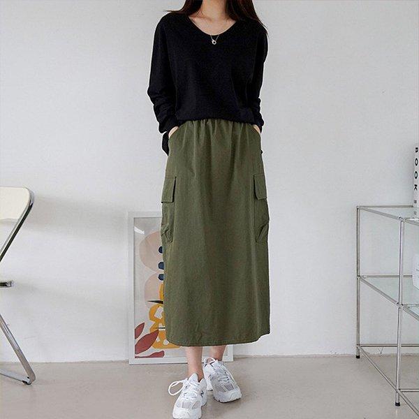 009 카고타입면롱스커트 DEMB022 도매 배송대행 미시옷 임부복