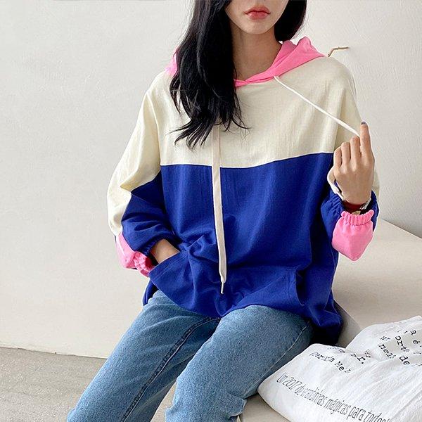009 삼단배색캐주얼긴팔티 DADB039 도매 배송대행 미시옷 임부복