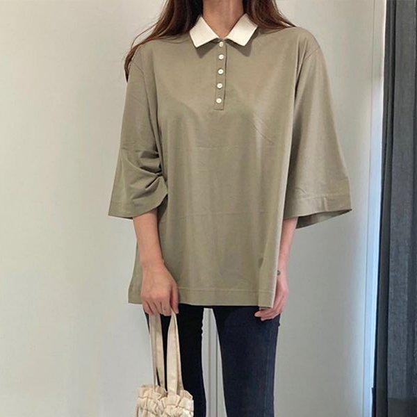 009 루즈면스판배색카라티 DTGB043 도매 배송대행 미시옷 임부복