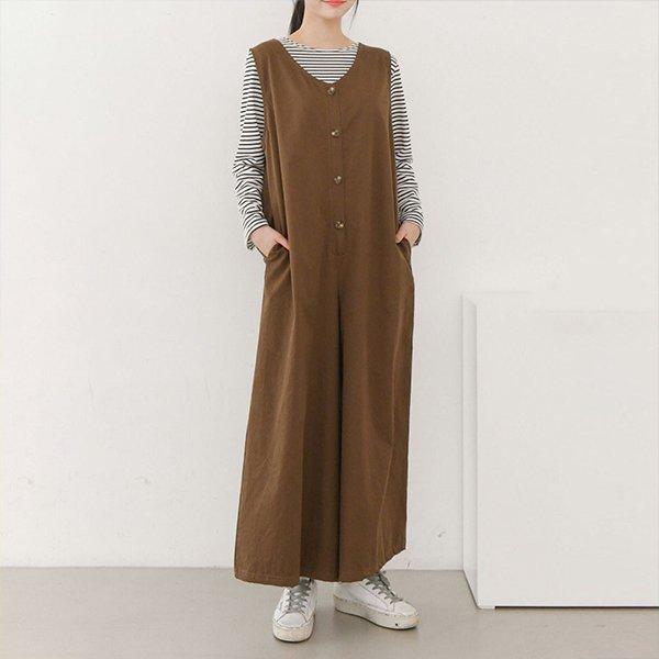 009 민소매버튼통점프슈트 DEMB044 도매 배송대행 미시옷 임부복