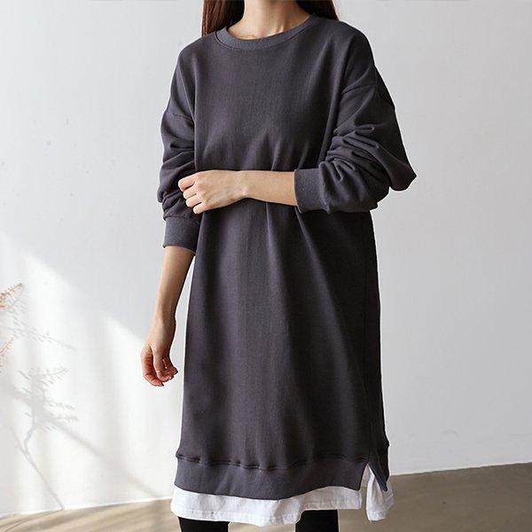 009 루즈맨투맨배색원피스 DGGB050 도매 배송대행 미시옷 임부복