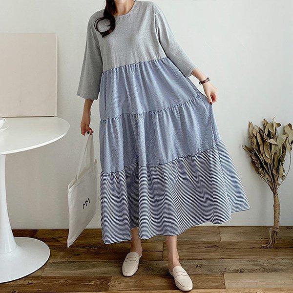 009 절개캉캉배색롱원피스 DGRB057 도매 배송대행 미시옷 임부복
