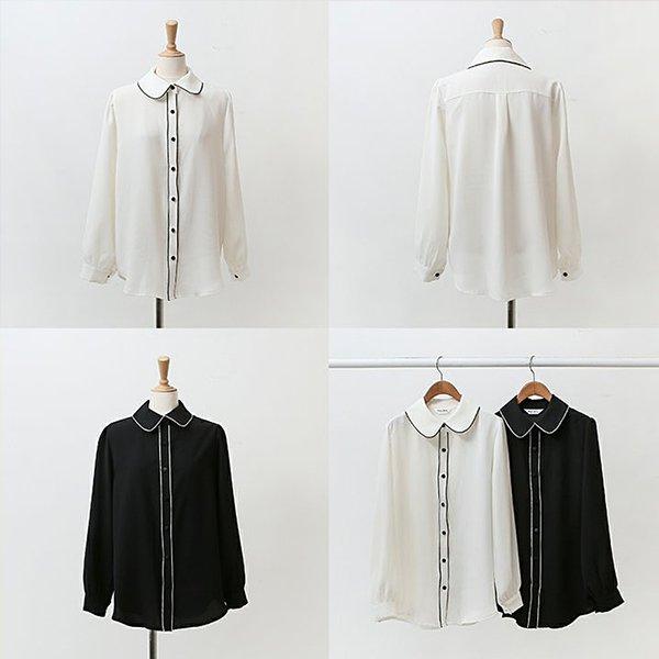 009 단정배색쉬폰블라우스 DWBB071 도매 배송대행 미시옷 임부복