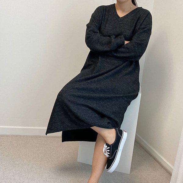 010 브이넥니트기모원피스 DHGB141 도매 배송대행 미시옷 임부복