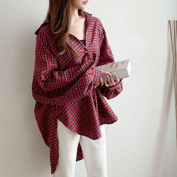 010 롱루즈언발체크면셔츠 DNOB148 도매 배송대행 미시옷 임부복