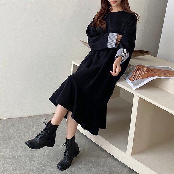 010 스판면배색소매원피스 DNOB151 도매 배송대행 미시옷 임부복