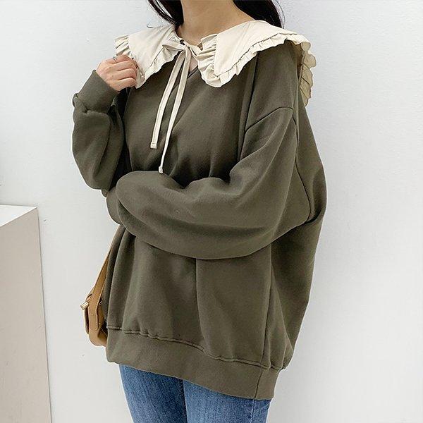 010 배색프릴카라맨투맨티 DTGB170 도매 배송대행 미시옷 임부복