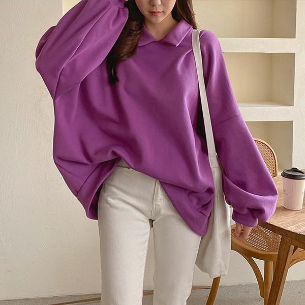 012 프리박시핏카라맨투맨 DNOC296 도매 배송대행 미시옷 임부복