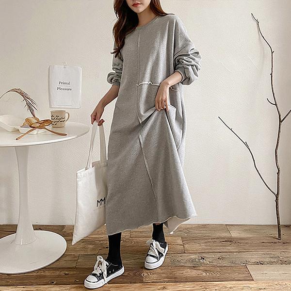 001 무지라운드컷팅원피스 DKBC331 도매 배송대행 미시옷 임부복