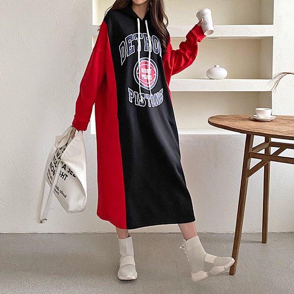 012 배색오버사이드원피스 DKBC338 도매 배송대행 미시옷 임부복