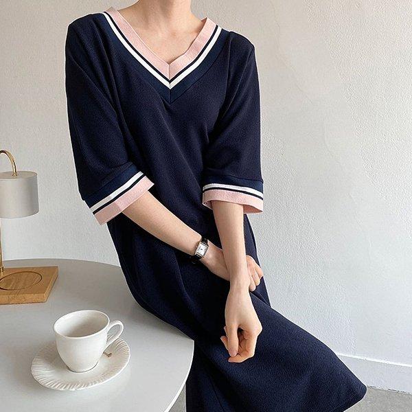 104 안나배색브이넥원피스 DBSE145 도매 배송대행 미시옷 임부복