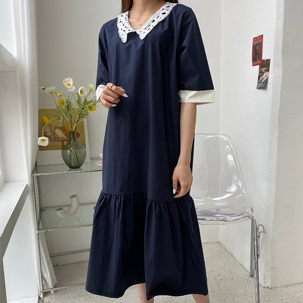 106 시나몬펀칭카라원피스 DBSE300 도매 배송대행 미시옷 임부복