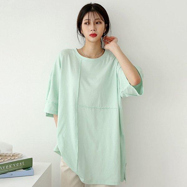 106 샐리오버핏세로줄반팔 DSFE308 도매 배송대행 미시옷 임부복