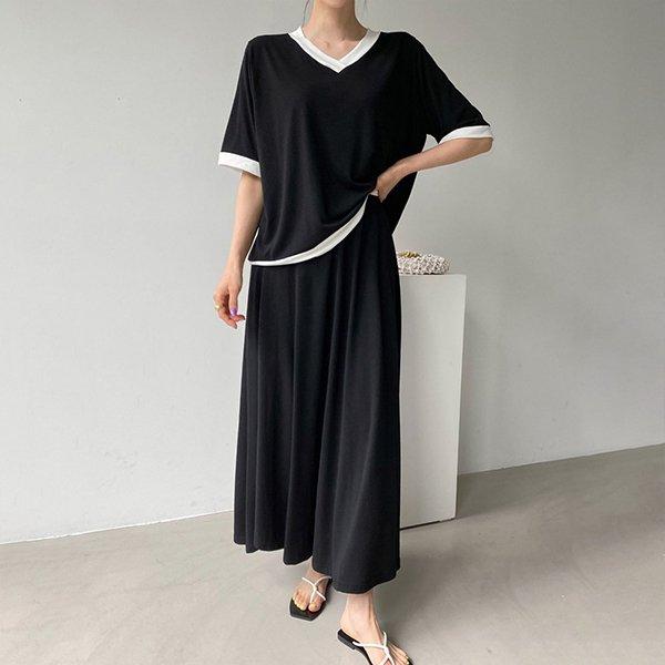 107 팔레트배색스커트세트 DBSE438 도매 배송대행 미시옷 임부복