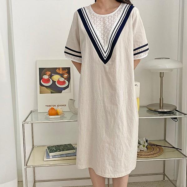107 베이직일자브이원피스 DBSE514 도매 배송대행 미시옷 임부복