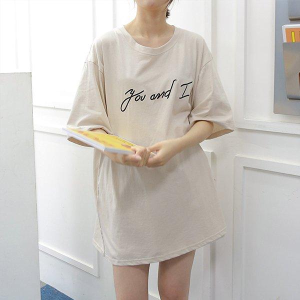107 루즈핏레터자수반팔티 DWBE516 도매 배송대행 미시옷 임부복