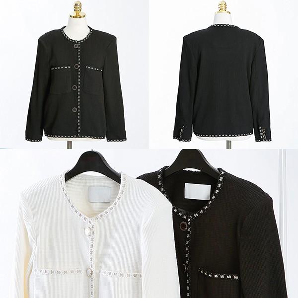 108 베이직와플트위드자켓 DCME629 도매 배송대행 미시옷 임부복