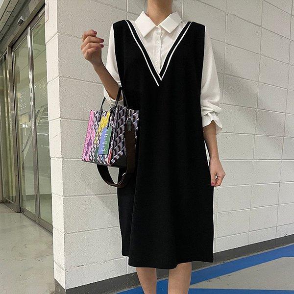 109 배색카라브이넥원피스 DBSE688 도매 배송대행 미시옷 임부복
