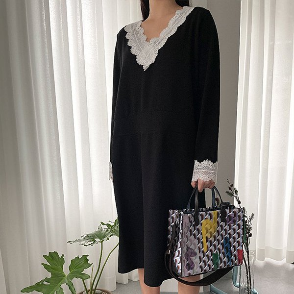 109 러블리배색스판원피스 DBSE690 도매 배송대행 미시옷 임부복