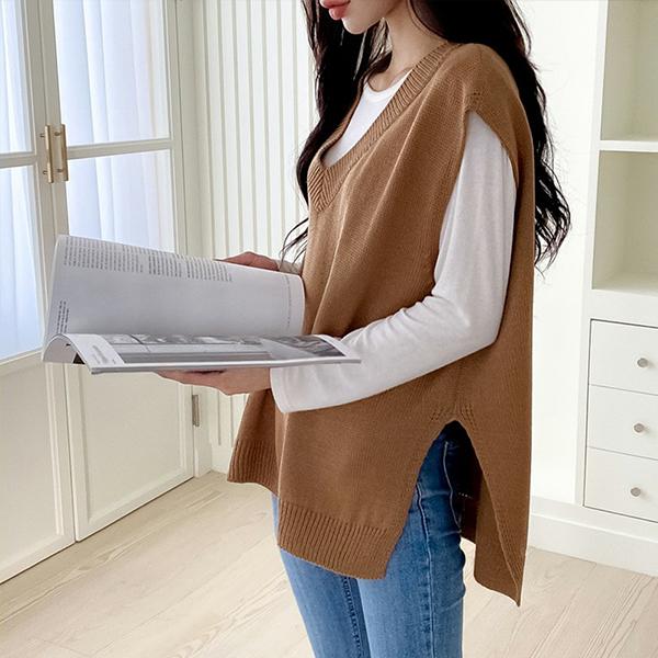 109 브이트임심플니트조끼 DBNE704 도매 배송대행 미시옷 임부복