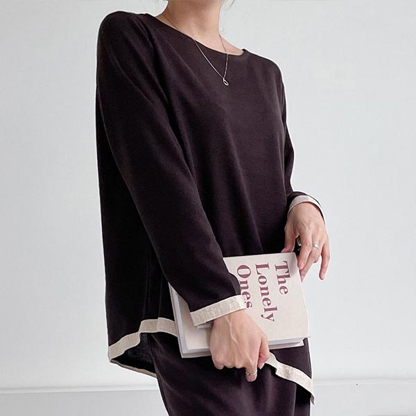 110 오버핏배색언발티셔츠 DNBE814 도매 배송대행 미시옷 임부복