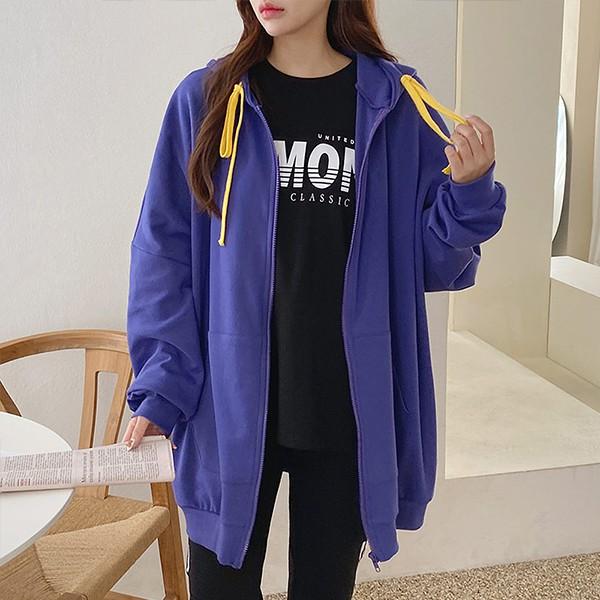 110 배색루즈핏롱후드집업 DPOE858 도매 배송대행 미시옷 임부복