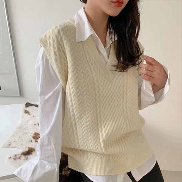 110 베이직포근롱니트조끼 DSFE862 도매 배송대행 미시옷 임부복